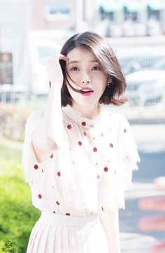IU #Fashion #Kpop Iu Fashion, Kpop Outfits, Korean Celebrities, Korean Actresses, Asian Style, Korean Girl, Asian Beauty, My Girl, Short Hair Styles