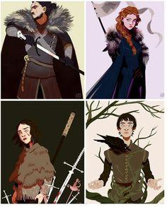 House stark isn't that hopeless after all. The Stark chidren: Jon, Sansa, Arya and Bran Dessin Game Of Thrones, Game Of Thrones Artwork, Game Of Thrones Sansa, Eddard Stark, Sansa Stark, Bran Stark, Arya Stark Art, Jon And Arya, Character