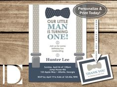Little Man First Birthday Party Invitation, Bow Tie, Suspenders, Blue, Gray, Navy, Instant Download, DIY, BONUS Thank You Cards by DeReimer DeSign for $8.95