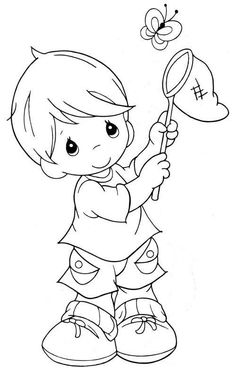 Precious Moments Boy Catching Butterfly Coloring Page