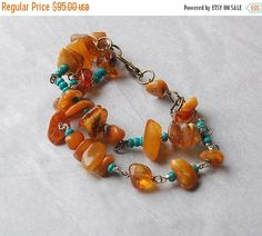 On Sale Raw Amber and Turquoise Bracelet by LaughingDogStudio