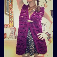Vintage Royal Purple Crochet Hippie Vest Bohemian La la la la singing in the sun, sitting on the grass playing my guitar. Is that not what this musician, nature goddess would be doing in this vest? Great condition. Smoke free home. No labels. Hand knit. Handmade. Artsy. Crafty. Boho chic. Free spirit. Burning man dessert wear. The coolest kid in the Forrest. Will fit small or medium. Vintage Sweaters Shrugs & Ponchos