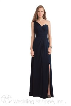 1e7f2009b07b A beautiful long chiffon one shoulder bridesmaid dress in navy with front  slit. Bill Levkoff