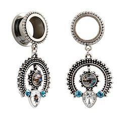 Fashion Jewelry Body Jewelry Spirited Skull Butterfly Surgical Steel Dangle Tunnel Ear Plug 6mm 25mm