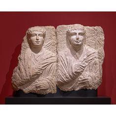 Male and His Son (?), 170 - 190 C. Hard greyish limestone, 22 × 15 × 4 in. Getty Villa, Palmyra, Roman Empire, Priest, Copenhagen, Worship, Culture, Statue, Portrait
