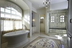 Love the design on the shower wall but would only do either the pattern across the bottom or the rug but not both. Mosaic Tiles Design Ideas, Pictures, Remodel, and Decor - page 3