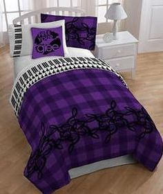 Glee Piano Themed Treble Clef Reversible Full Comforter Set Piece Bed In A Bag
