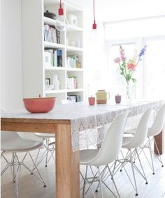 INFURN :: It's the DSR Chair again, but this time in white. Spot the E27 Pendant Lamps by Mattias Stahlbom too.