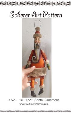 E-pattern Scherer Folk Art Santa Claus Ornament Pattern Christmas Miniature Primitive