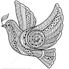 Illustration about Zentangle stylized floral Pigeon for Peace Day. Hand Drawn Dove of peace vector illustration. Illustration of nature, illustration, black - 63051825 Bird Coloring Pages, Mandala Coloring Pages, Free Printable Coloring Pages, Adult Coloring Pages, Coloring Books, Images Of Peace, Peace Pictures, Zentangle Drawings, Zentangle Patterns