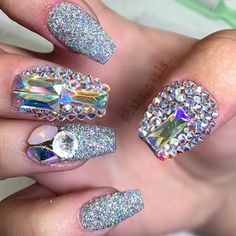 ..amazing glam nails with holographic glitter, gems and rhinestones..