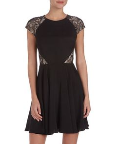 Lace-Inset Fit-and-Flare Dress, Black by Erin Fetherston at Neiman Marcus Last Call.