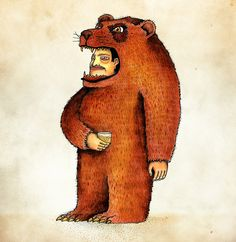 Oso pico tibio, (man in bear suit) art print by Juan Weiss Guy, Canvas Prints, Art Prints, Scooby Doo, Illustrators, Art Drawings, Whimsical, Costumes, Gallery