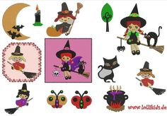 Stickmuster Stickdatei Halloween Hexen und andere von lollikids auf DaWanda.com