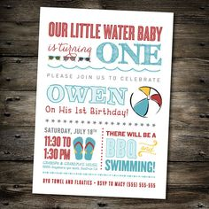 First Birthday Party Invitation: Pool Party/Beach theme- You Print