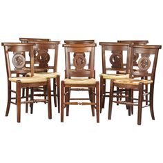 5f8af1ee723 Set Of Six 1stdibs Dining Room Chairs - Carved Ladder Back Woven ...