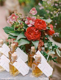 Cute favors and gorgeous flowers: http://www.stylemepretty.com/2014/10/17/elegant-estate-wedding-inspiration-part-1/   Photography: Marisa Holmes - http://marisaholmesblog.com/