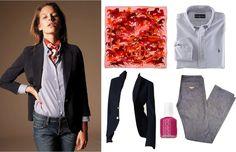 Photo of Kitsuné model found via Wearing the Pants.    Hermes Ex Libris en Camouflage silk scarf; Ralph Lauren striped oxford; Kitsuné Easy Cut jeans; Essie Super Bossa Nova nail polish; Little Boy Polo jacket