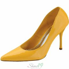 Elaine-7 Yellow Patent Leather Pointy Pumps Shoes $19.00 Clubbing Wedding Prom Fashion Style Bridal Interview Work