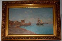 """Enrique Florido Bernils (Málaga , 1873, 1929) """"Puerto de la Malagueta con la Capilla y La Farola"""" Óleo sobre tabla. Firmado ángulo inferior izquierdo. E.Florido Málaga. Medidas: Con marco 57 x 40 cm               Sin marco  45 x 28 cm"""