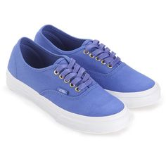 Authentic Slim Gold Pop by Vans. Low top Sneakers with  gold metal eyelets and Vans signature waffle outsole. Made from canvas, with blue color, round toe, lace up, rubber sole, perfect sneakers for everyday use.     http://www.zocko.com/z/JJPCN