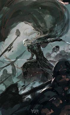 Thranduil from The Hobbit Dark Fantasy Art, Fantasy Artwork, Fantasy World, Hobbit Art, O Hobbit, Legolas Und Thranduil, Gandalf, Dark Elf, Fantasy Character Design