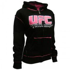 UFC Womens Sherpa Hoodie [Black/Pink] | UFC Women's Hoodies - UFC Store - View All