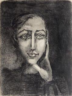 Pablo Picasso - Francoise sur Fond Gris, 1950,...
