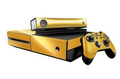Microsoft Xbox One Skin (XB1) - NEW - GOLD CHROME MIRROR system skins faceplate decal mod. No idea why reminds me of clap trap