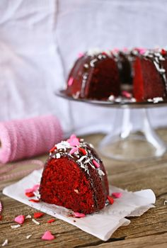 Red Velvet Bundt Cake w/ Kahlua Ganache