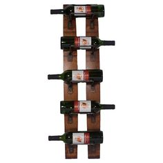 Eco-friendly wall-mounted wine rack crafted from oak wine barrel staves. Holds up to 5 bottles.  Product: Wine rack
