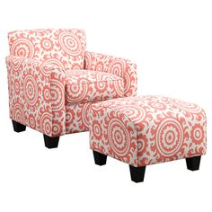 Showcasing a medallion design in pink, this eye-catching arm chair and ottoman set brings a pop of pattern to your living room or parlor.  ...