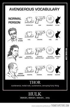 Avenger's Vocabulary II (notice Hulk and Thor's- LOL! Marvel Comics, Funny Marvel Memes, Marvel Jokes, Dc Memes, Avengers Memes, Funny Memes, Hilarious, Avengers Characters, Marvel Art