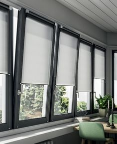 Mini Roll is an elegant and contemporary window frame fitted blind with smaller aluminium brackets. It is a perfect solution for smaller windows for example in a bathroom. Modern Window Coverings, Contemporary Window Treatments, Contemporary Windows, Modern Windows, House Blinds, Blinds For Windows, Curtains With Blinds, Windows And Doors, Windows