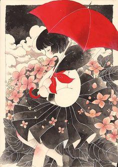 「赤い傘ゆらし」/「よしたか@web漫画」のイラスト [pixiv] member ID: 257840
