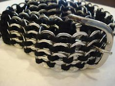 Instructions to make a belt using recycled pop tabs
