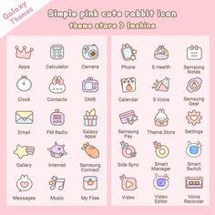 Rabbit Icon, Galaxy Theme, Pc Computer, Camera Phone, Samsung, App, Simple, Cute, Pink