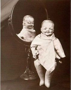 A two-faced doll from the 1920s. This variety of doll was popular with children throughout the 1900s.