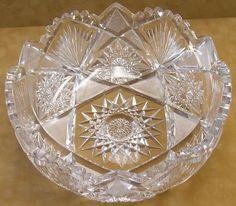 American Brilliant Period Cut Glass Bowl In Hobstar Pattern