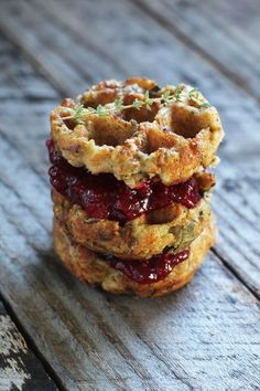 Stuffing waffles!! Wondering how to use up your Thanksgiving leftovers? Try making this stuffing waffle recipe with gravy or syrup and homemade chia cranberry sauce.