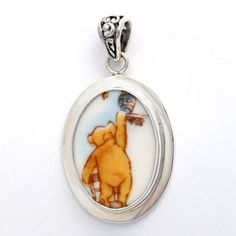 Broken China Jewelry Classic Pooh Bear Winnie The Pooh Reaching for Honey Sterling Pendant