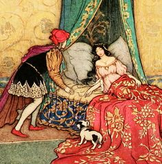 """'The Sleeping Beauty in the Wood' (detail) from """"The Fairy Book"""" (1913) illustrated by Warwick Goble"""