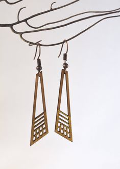 Laser Cut & Hand Painted Wood Earrings, Dangling Geometric Earring, Modern Wood Jewelry by UrbanLeafDesigns on Etsy https://www.etsy.com/listing/540008058/laser-cut-hand-painted-wood-earrings