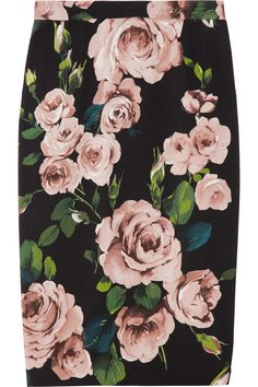 Dolce & Gabbana|Rose-print crepe pencil skirt