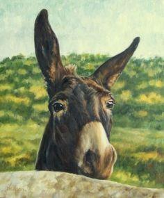 Curious Jack Oil Painting Donkey Horse Pet Art Farm Animal Western, original painting by artist Debra Sisson   DailyPainters.com