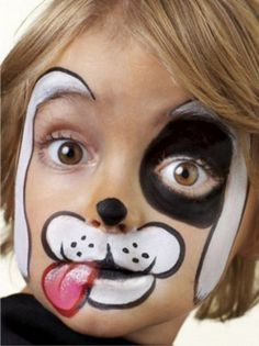 Parenting - Child - 5 Easy Face Painting Designs for Kids (Maquillaje Halloween Media Cara) Puppy Face Paint, Dog Face Paints, Easy Face Painting Designs, Face Painting Tutorials, Simple Face Painting, The Face, Animal Faces, Costume Makeup, Party Makeup