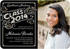 Flourish Nouveau - #Graduation Invitations - Sarah Hawkins Designs in a classic black and white design.