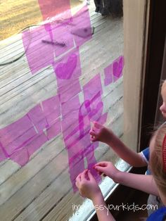 """Purple = royalty, the robe that Jesus wore during his crucifixion trial. """"Stained glass"""" window with purple cellophane in preparation for Resurrection Sunday. From Impress Your Kids."""