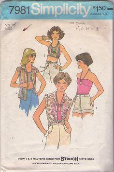 MOMSPatterns Vintage Sewing Patterns - Simplicity 7981 Vintage 70's Sewing Pattern FOXY HOT Disco Era Back Buttoned, Keyhole Front Halter Top, Tied Front Shirt MISSING VIEW 2.