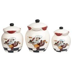 Cheerful and bright, this Chef Ceramic Deluxe 3 Piece Kitchen Canister Set from Lorren Home Trends makes a delightful and fun addition to any kitchen. Comes in a convenient portable rod iron carrier. Fat Chef Kitchen Decor, Kitchen Canister Sets, Kitchen Canisters, Home Decor Kitchen, Kitchen Dining, Canned Food Storage, Kitchen Models, Home Trends, Hand Painted Ceramics